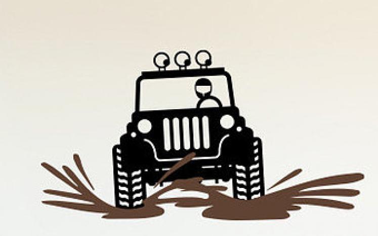 Jeep on muddy road